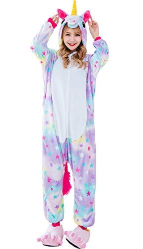 Hotmall Unicornio Onesies Adulto Unisexo Unicornio Pijamas Dormir Trajes de Cosplay de Franela de Animales Arco Iris Estrella Kigurumi Ropa de Dormir