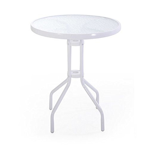 VERDELOOK iOS, Tavolino da Esterno con Struttura in Metallo Verniciato e Vetro temprato 5 mm. 60x60 h71 cm