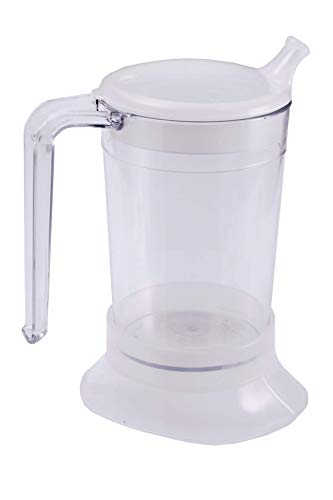 Spa Large Clear Drinking Cup, Strong Handle, Spout and Feeder Style Lids, 300ml -