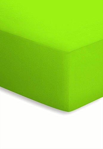 Schlafgut Jersey-Elasthan Spannbetttuch für Matratzen / Wasserbetten bis 220cm und 25 cm Höhe - Grösse 180/200 x 190/200/210/220 cm - Härtegrad 860 - Apfel - Baumwolle Wasserbett Blatt