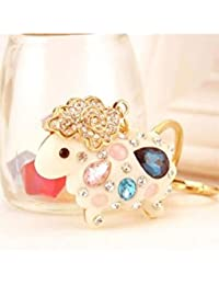 Banggood ELECTROPRIME Crystal Keyring Charm Pendant Bag Key Ring Chain Keychain White Sheep