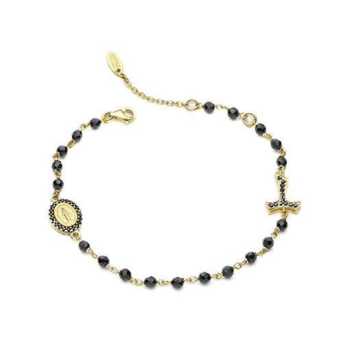 Armband ROSARIO 925 Silber vergoldet mit 24 Karat Gelbgold mit Onyx Granit Kreuz Tau und Medaille mit Madonna Miracolosa und anderen San Francesco und Wolf Länge 17/20 cm