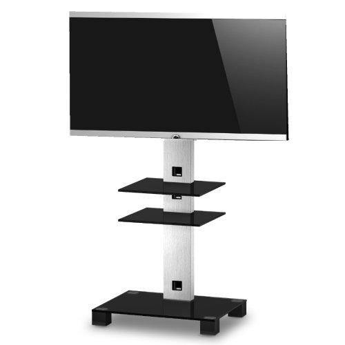 RO&CO P1262 NG Fernsehständer mit 2 Ablagen Schwarzes Glas/graues Gestell Höhe 126 cm.