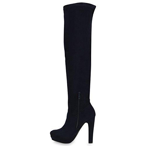 Elegante Damen Stiefel Overknees Langschaft High Heels Plateau Dunkelblau