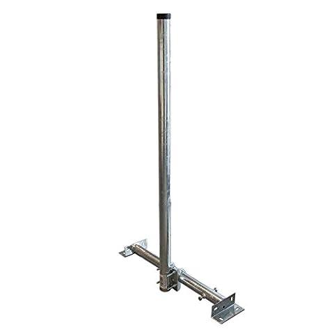 PremiumX Dachsparrenmasthalter 120 cm Ø 48 mm Mast Stahl feuerverzinkt 120cm SAT Dach Sparren Halter verstellbar 61 - 105 cm Aufsparrenhalter Untersparrenhalter Dachsparrenhalter