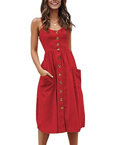 Walant Robes pour Femmes mi-Longue à Bretelles Ete Tie Front Col V Manches Courtes Bouton A-Line Sexy Robe Plage d'Ãtà Casual Chic Vintage Floraux, Rouge 3, L
