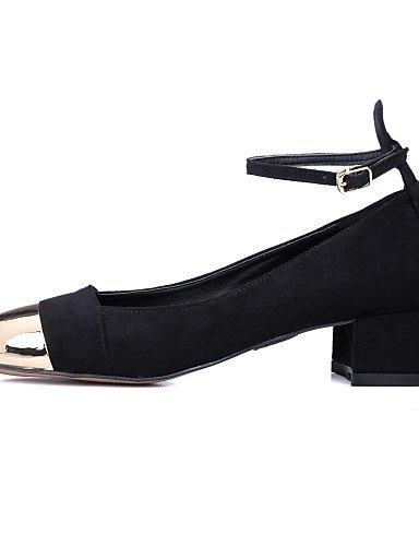 WSS 2016 Chaussures Femme-Habillé / Décontracté / Soirée & Evénement-Noir / Amande-Gros Talon-Talons / Bout Carré-Talons-Cuir black-us6 / eu36 / uk4 / cn36
