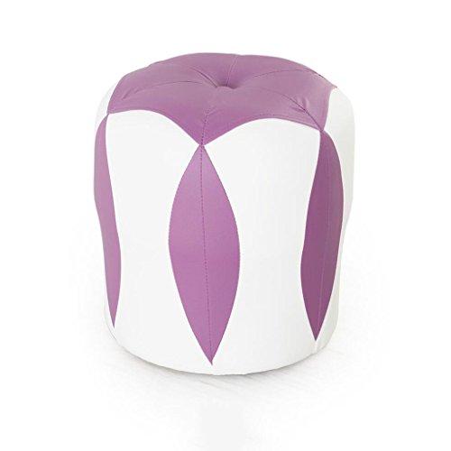 Tabouret de canapé Xuan - Worth Having Tabouret de Fleur Blanc + Violet Bas Tabouret Changer de Chaussures Tabouret de Maquillage en Cuir pour Enfants Étanche (33 * 33 * 35cm)
