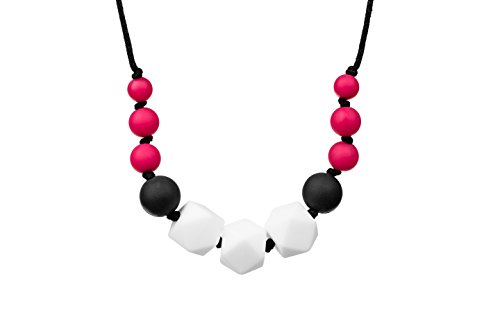 Preisvergleich Produktbild SEYSSO 'RUBINE DIAMOND' Silikon Zahnen Halskette für Babys • Sicher und Bescheinigt Kautable Beißring • Rot, Schwarz und Weiß • SEYSSO Baby-Zahnen Zubehör.