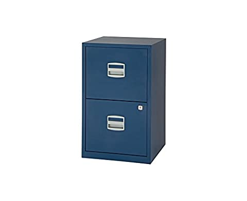Bisley Metal Filing Cabinet 2 Drawer A4 - Color: Oxford Blue