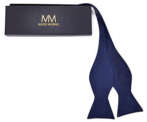 Massi Morino Massi Morino ® Querbinder aus 100% Seide zum Selbst-Binden (verstellbar) handgenähte Fliege (dunkelblau) dunkelblaue fliegedunkelblau dunkelblauefliege dark-blue blaufarben Navy-blue marineblau