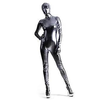 Spandex Argent Brillant Métallique Zentai Suit - Female - L