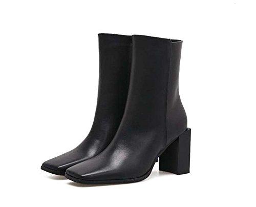 8cm Chunkly Heel Tall Bootie Chelsea Boot Hochzeit Schuhe Frauen Handsome Square Toe Zipper Martin Stiefel Eu Größe 35-39 ( Color : Black , Size : 37 )