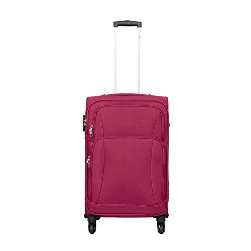Trendyshop365 - Nylon Reisekoffer Trolley - Malaga Weichschalenkoffer 62 Liter Volumen - Koffer Rot Weichschale in M