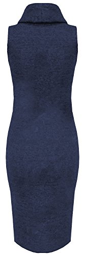 Chocolate Pickle ® Mesdames et col bénitier Knit Wear manches Bodycon Midi Robe Navy