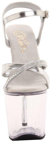 Pleaser DIAMOND-715 Damen Plateau High Heels Silber