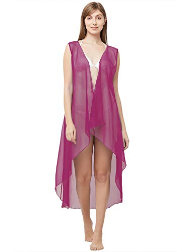 Sourbh Damen Georgette Strandbekleidung, ärmellos, Badeanzug (freie Größe) - Pink - Einheitsgröße -