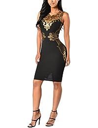 Mujer Vestidos De Fiesta Cortos Elegantes De Noche Vintage Dorados Encaje  Splicing Ajustado Sin Mangas Fashion 3fea414a1ffe