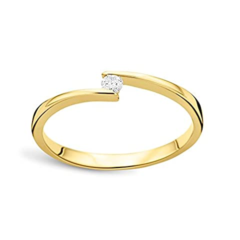 Diamada Femme or jaune en diamant solitaire bague 9kt (375) brillant 0.05cts