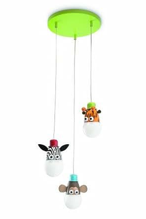 philips zoo suspension luminaire pour enfant m tal multicolore 3 x 14 w luminaires. Black Bedroom Furniture Sets. Home Design Ideas