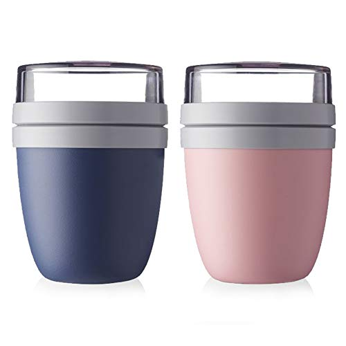 Mepal Lunchpot Ellipse 2-er Set Lunchbox Essensbehälter (Nordic Denim und Nordic pink)