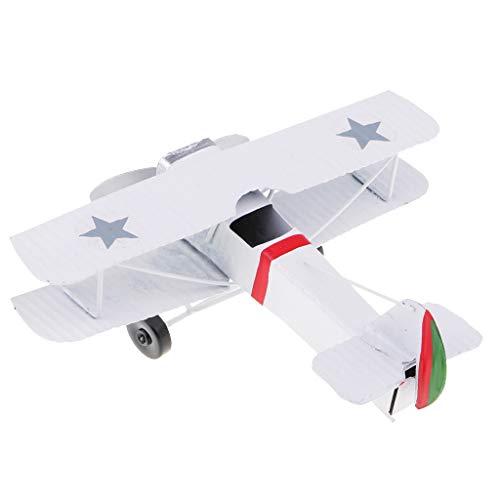 MagiDeal Vintage Metall Flugzeug Modellflugzeug Segelflugzeug Doppeldecker Kinder Spielzeug Wohnkultur - Weiß (Flugzeuge Spielzeug Vintage)