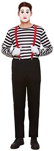 Fancy Me Herren gestreift Französische Mime Künstler Zirkus Halloween Karneval Kostüm Outfit