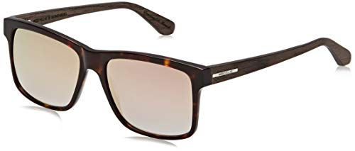 Wood Fellas Unisex-Erwachsene Sunglasses Basic Blumenberg Sonnenbrille, rosé Mirror/Havana/Black Oak, 56