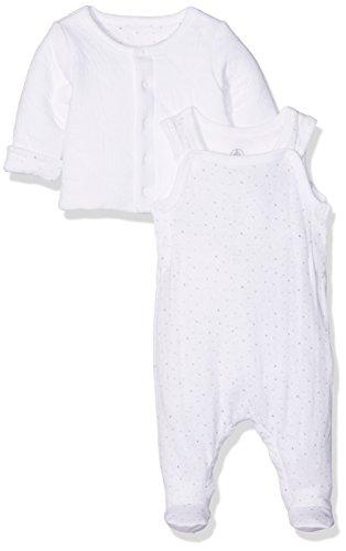 Petit Bateau Unisex Baby Bekleidungsset Ensemble Long nuit_22306, Weiß (Ecume 01), 68 (6m/67cm) (Petite Print Cardigan)
