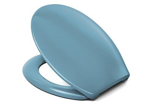 Cedo WC Sitz Rainbow Beach, Farbe: Bermuda Blau mit Edelstahlscharnier und FastFix Schnellmontage - aus Duroplast für ovale Keramiken mit Befestigung von Unten (Wc-sitze Blau)