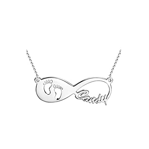 FUJIN Infinity Pendant Personalized Baby Feet Footprint Name Necklace Sterling Silver Customized Any Name
