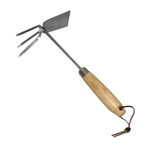 Xclou 341450 - Herramienta manual para jardín con azada y rastrillo (tamaño pequeño, acero inoxidable, mango de madera de fresno)