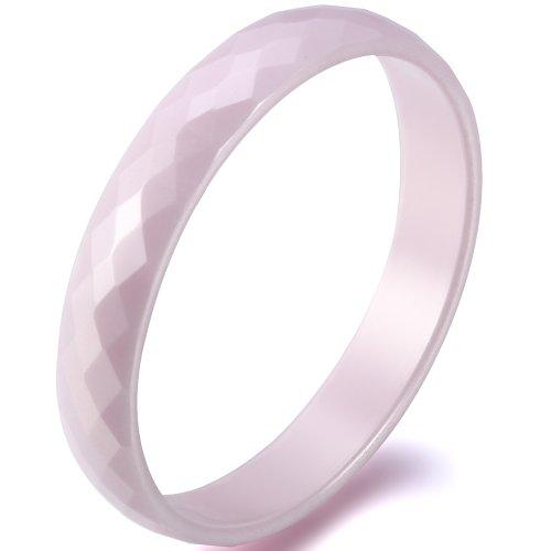 JewelryWe Schmuck 3,5mm Breite Pink Keramik Ring Facettiert Damen-Ring Jahrestag Verlobung Hochzeit Band Größe 54