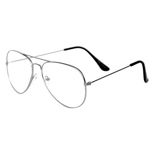 DALLER Plain Silver Aviator Unisex Sunglasses