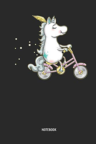 Unicorn Notebook: Cute Unicorn Driving A Bike / Bicycle   Lined Journal For  Women,