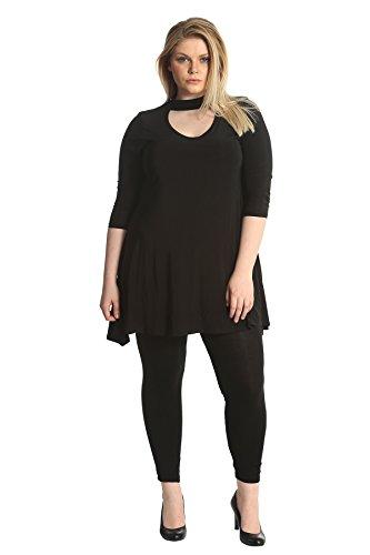 Damen Übergröße Nouvelle Sanfte Berührung Choker Hals Hemd Schwarz