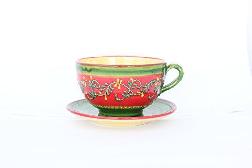 Tazón desayuno con plato de cerámica,hecho y pintado a mano