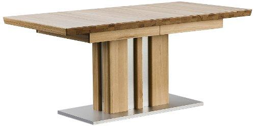 Robas Lund, Tisch, Esszimmertisch, Säulentisch, Bolzano, ausziehbar, Kernbuche/Massivholz/Edelstahloptik, 160(260) x 77 x 90 cm, BOLZ16EI