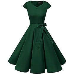 Dresstells Version 6.0 Vintage 1950's Robe de soirée Cocktail rétro Style années 50 Manches Courtes DarkGreen XS