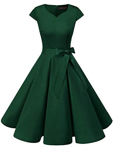 Dresstells Damen 50er Vintage Retro Cap Sleeves Rockabilly Kleider Hepburn Stil Cocktailkleider DarkGreen L 50er Jahre Stil Kleid
