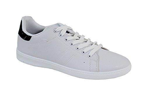 By Shoes, Damen Sneaker , rot - Weiß / Burgunderrot Blanc et Noir