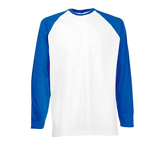 "Fruit of the Loom - Kontrast Langarm-Shirt \""Baseball Longsleeve T\"" XXL,White/Royal"