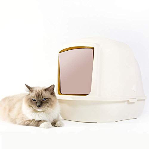 Hooded Cat Litter Pan, Fully Enclosed Extra Large Cat Flip Litter Tray Double Layer Deodorization Litter Box, Pet Toilet