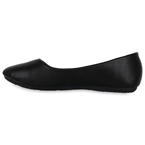 Klassische Damen Ballerinas | Lederoptik Flats | Schuhe Übergrößen | Flache Slipper | Spitze Prints Strass Black