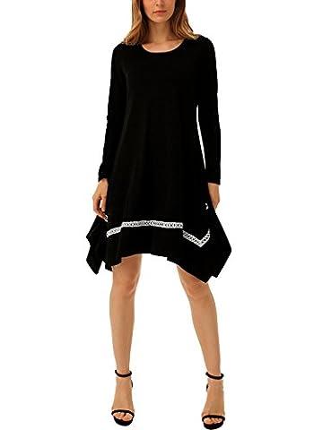 DJT Femme Robe Tunique Asmetrique ample Swings Pull a la mode Noir S