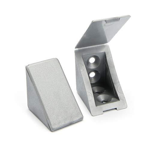 80 x Korpusverbinder/Möbelverbinder/Eckverbinder mit Abdeckklappe | Sossai® BT1, 4-Loch | Farbe : Silber |Material : Kunststoff