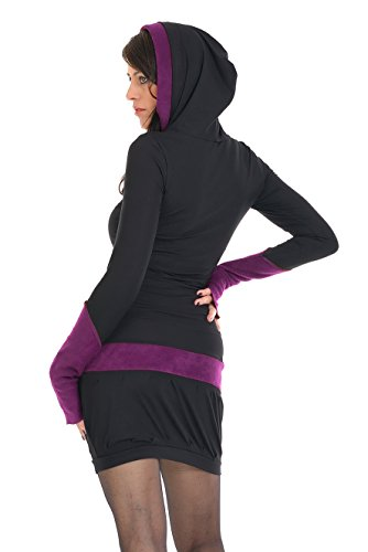 zauberhaftes Winterkleid mit Ballonrock und Kapuze mit farblich abgesetzten Fleece Details der Marke 3Elfen fair produziert Schwarz Lila