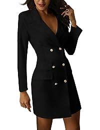 cc45630e1172 Minetom Damen Blazer Kleid Frauen Elegant Langarm V-Ausschnitt Zweireihig  Solide Hemdkleid Business Lange Hülse Büro Jacken Knopf…