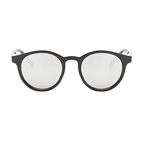WooCo Ovale Objektiv Spiegel Sonnenbrille, Damen Herren Vintage Brille Retro Kreis Rahmen Eyewear Mode(B,One size)