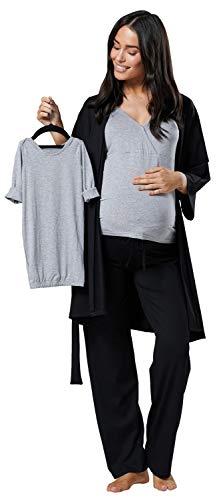 HAPPY MAMA Damen Mutterschaft Pyjama-Set Baby Mutter Passendes Set 181p (Schwarz & Licht Grau Melange, EU 40, L)
